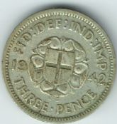 George VI, Silver (.500), Threepence 1942 (For Colonial Use), F, M6420